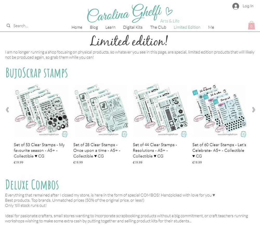 Carolina Ghelfi BujoScrap Stamps - Limited edition & Deluxe combos
