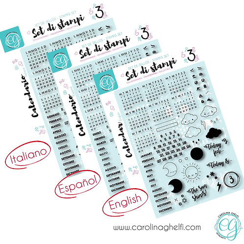 Set of 86 Clear Stamps - Calendar - A5+ - Collectible ♥ CG
