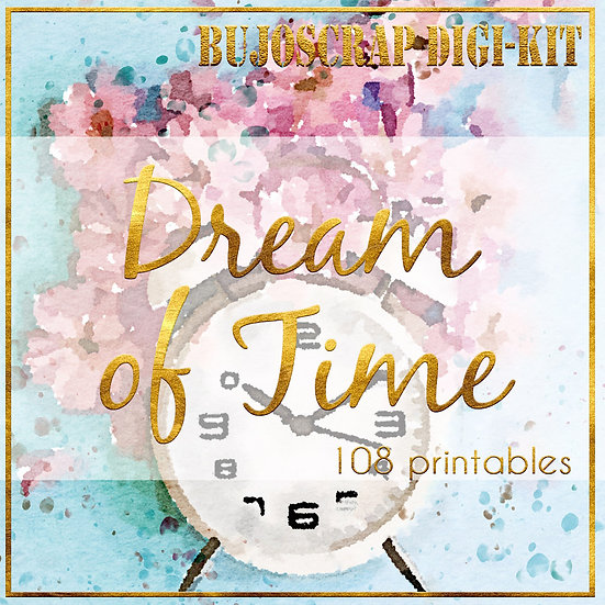 "BujoScrap Papers & Decorations - ""Dream of Time""  108 printables, A4"