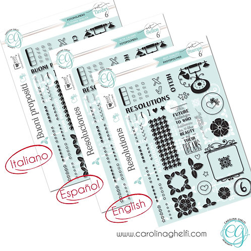 Set of 44 Clear Stamps - Resolutions - A5+ - Collectible ♥ CG
