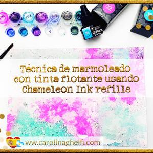 Técnica con las recargas de tinta Chameleon: ¡Marmoleado con tinta flotante!