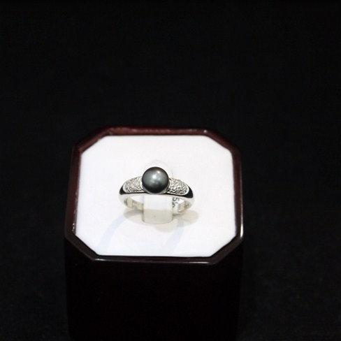 Grey Pearl Ring 14K White Gold