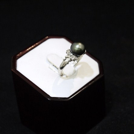 Peacock Grey Pearl Ring 14K White Gold