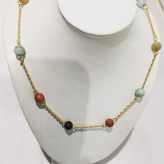 Multi-Stone Bead Necklace 14K Yellow Gold