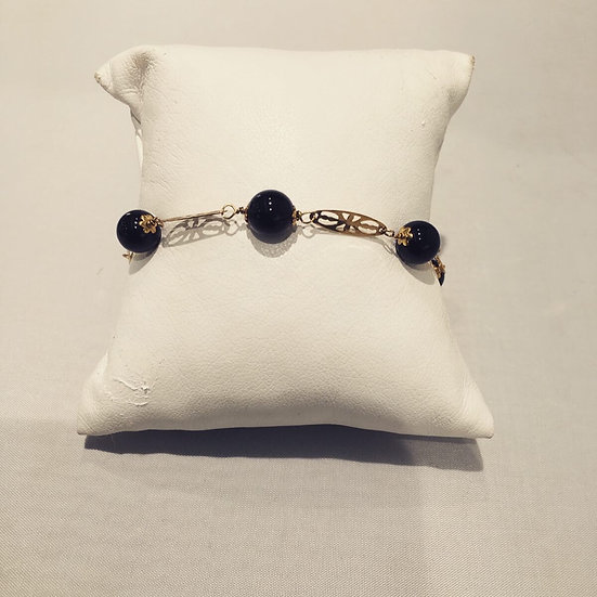 Black Agate Bead Bracelet 14k Yellow Gold