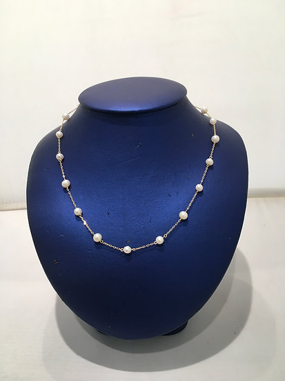 Fresh Water Pearl Necklace in 14k Yellow Gold Chain