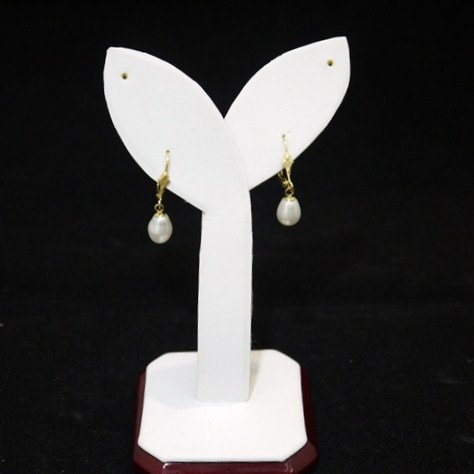 Fresh Water Pearl Gold Leverback Earrings