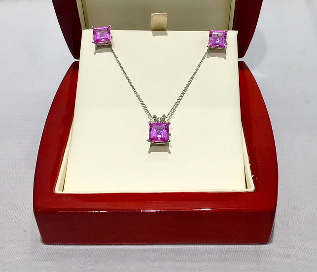 Princess Cut Pink Topaz Set with 14kg White Gold