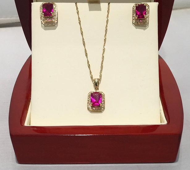 Created Princess Cut 14k Yellow Gold Ruby Set