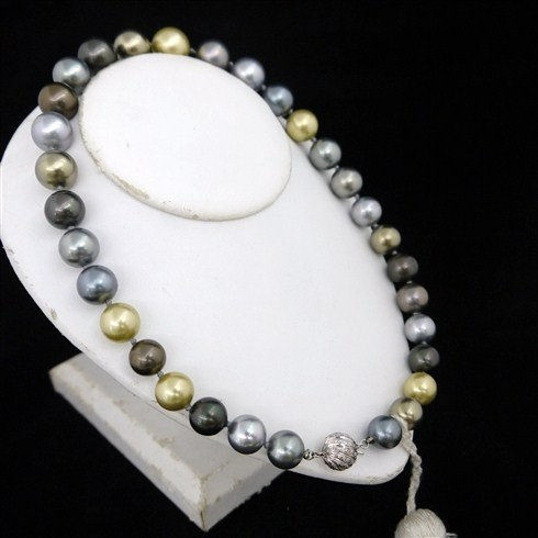 Graduated Multi Color Fresh Water Pearl Necklace With White Gold Diamonds Clasp