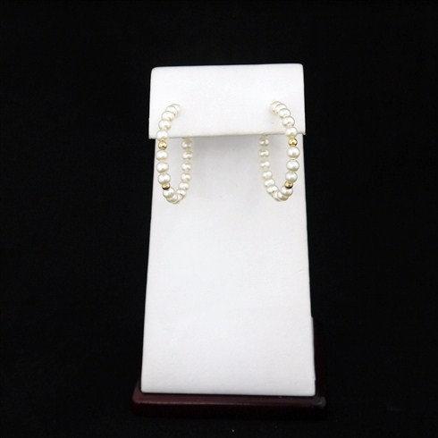 Pearl Hoop Earrings With 14K Gold
