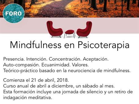 Te invitamos a nuestro curso anual de Mindfulness en Psicoterapia