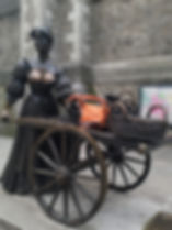 Molly Malone Statue and leather bucket bag