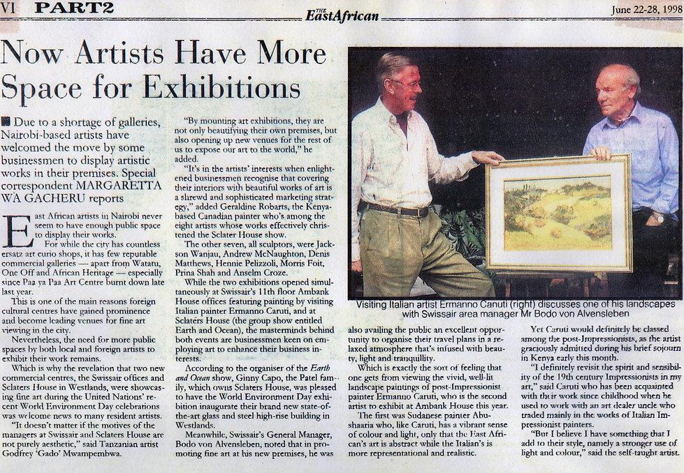 articolo the east african: esposizione a Nairobi 1998