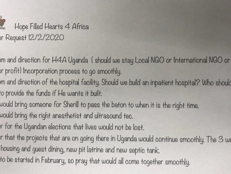Prayer Requests from Hearts for Africa in Uganda 12/2/2020