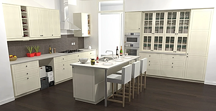 IKEA kitchen designed with the Sketchup Click-Kitchen 2 extension