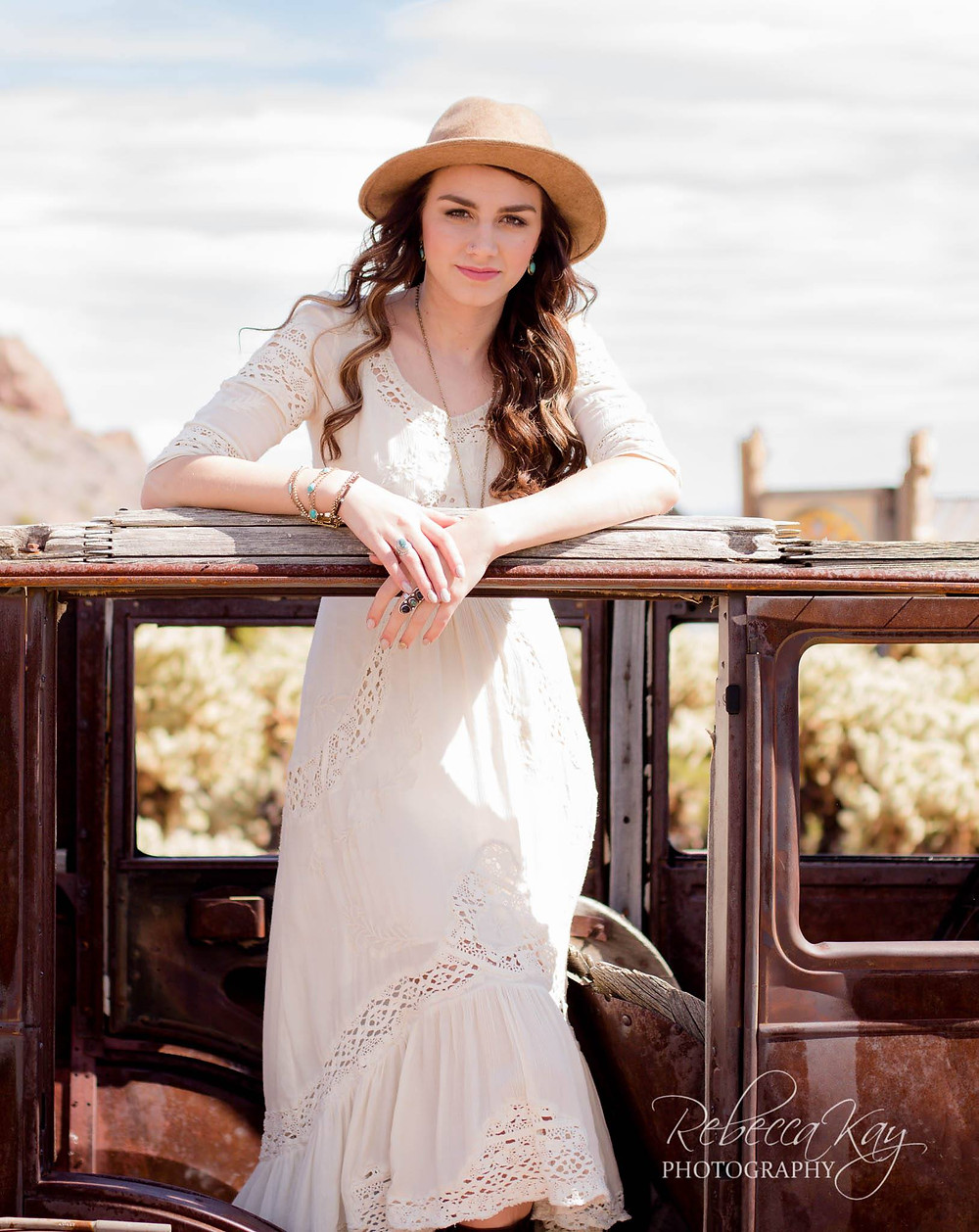 Alexis photographed on the Nevada desert by Rebecca Kay Photography.