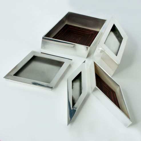 Silver boxes with Rosewood inserts