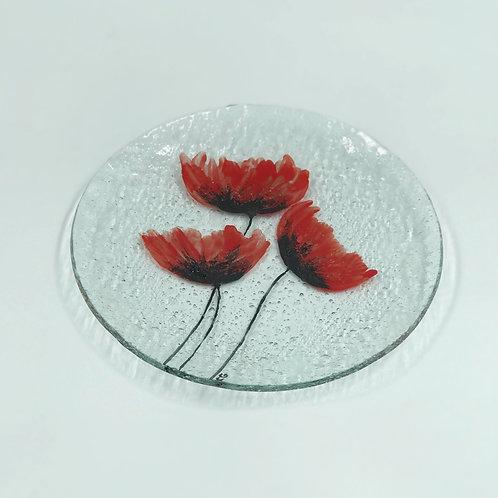 بشقاب شیشه ایی گل شقایق