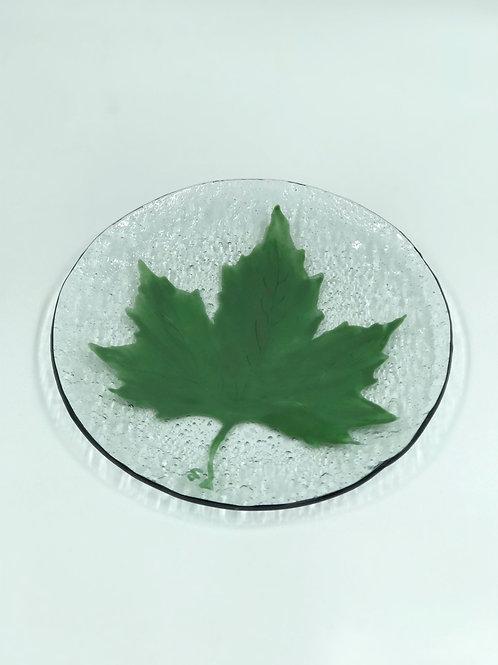 بشقاب شیشه ایی برگ سبز