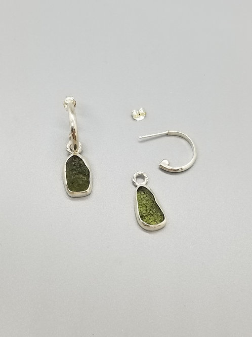 Moldavite Sterling Hoop Earrings