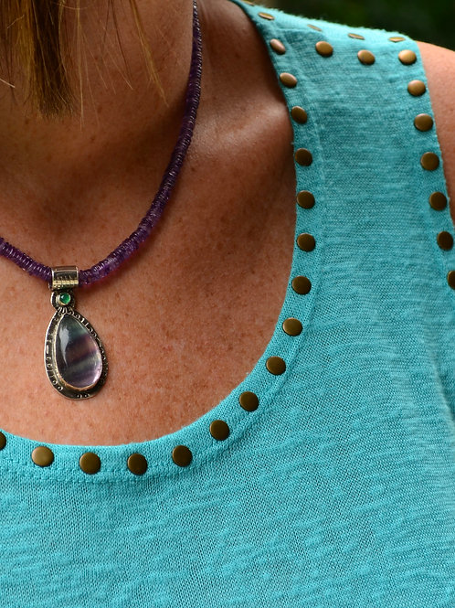 Fluorite Pendant with Amethyst Bead Necklace
