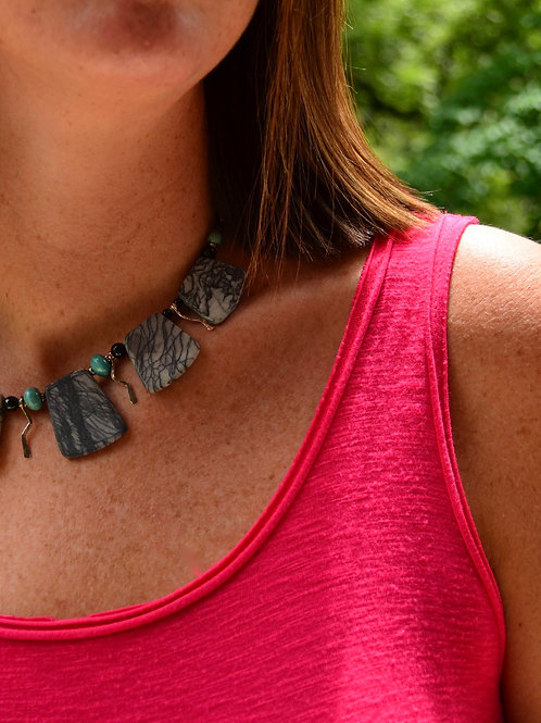 Zebra Agate Gemstone Necklace