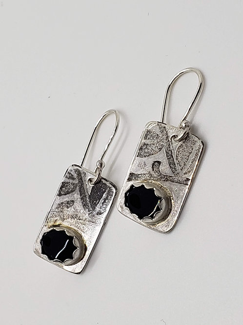 Sterling Etched Onyx Earrings
