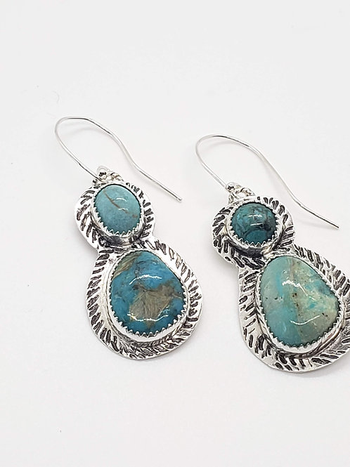 Double Turquoise and Sterling Earrings