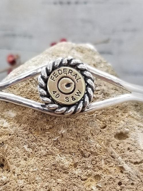Open Range Split Setting Twisted Cuff Bracelet