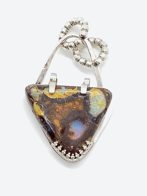 Australian Boulder Opal Triangle Pendant