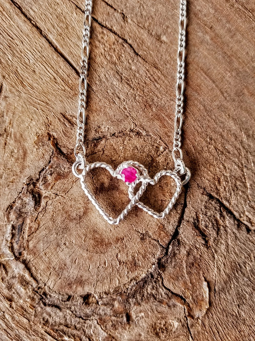 Double Heart Ruby Necklace