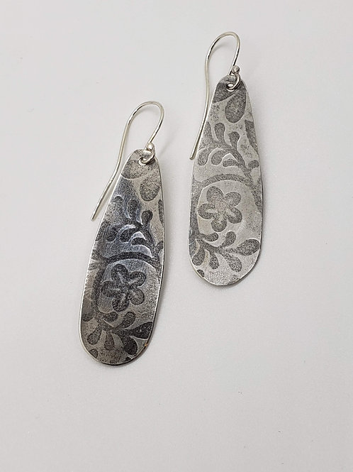 Sterling Etched Tear Drop Earrings