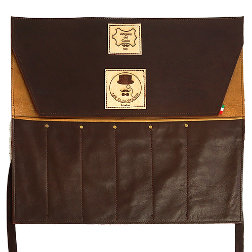 Double Brown Leather Roll Bag