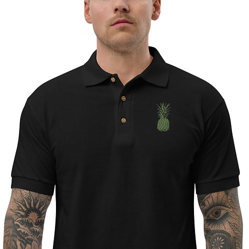 Green Pineapple Embroidered Polo Shirt