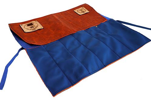 Blue & Orange Leather Roll Bag