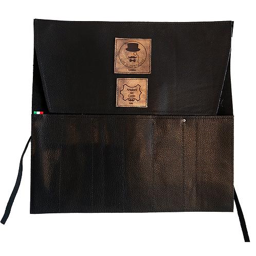Black Leather Roll Bag