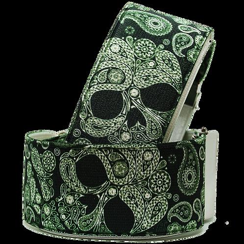 Green Skull Paisley Sleeve Garters