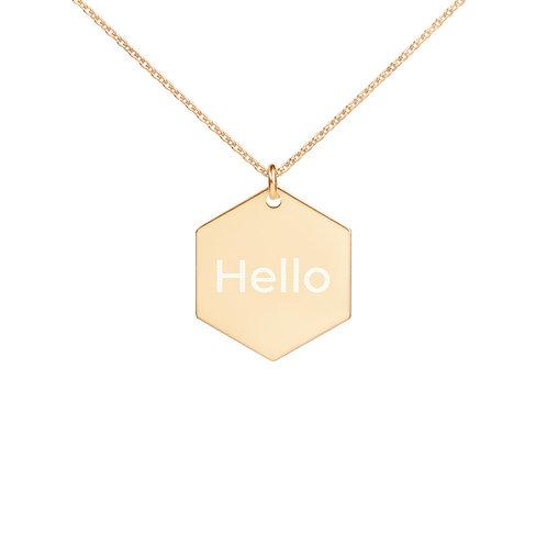 Hello Engraved Silver Hexagon Necklace