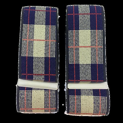 Tartan Beige & Navy Sleeve Garters