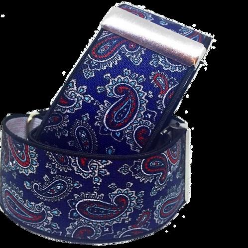 Blue Navy Paisley Sleeve Garters