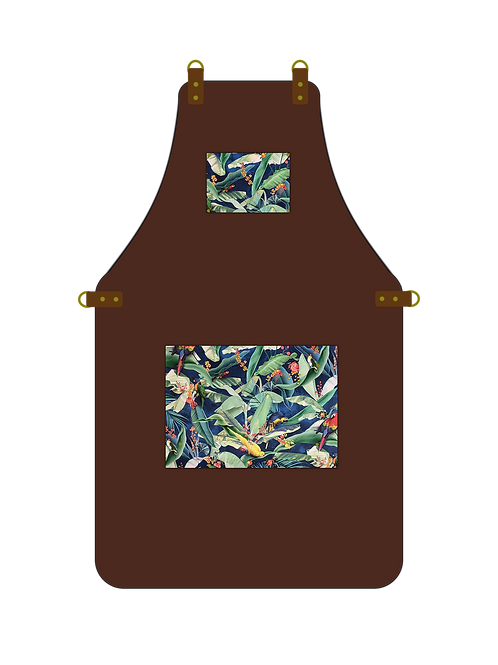 Brown & Tropical Parrot Apron