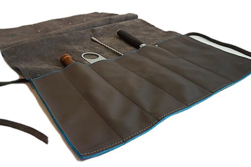 Grey & Blue Leather Roll Bag