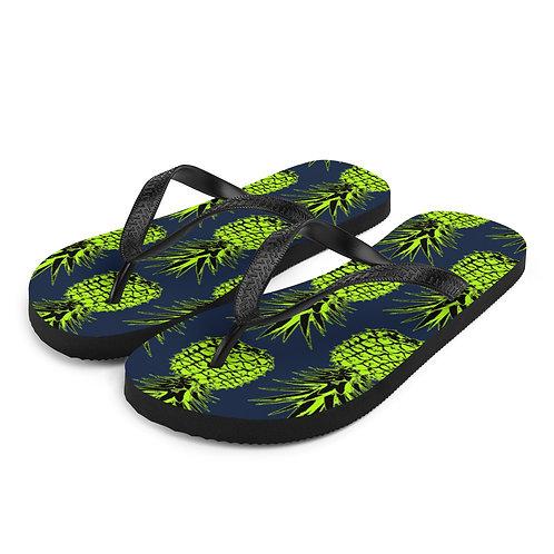 Green Pineapple Flip-Flops