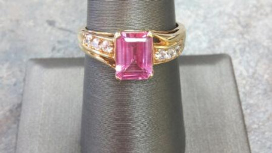 Ladies Pink Sapphire and CZ Ring