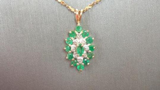 Ladies Emerald and Diamond Fashion Necklace