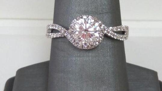 Ladies Platinum and CZ Fashion Ring