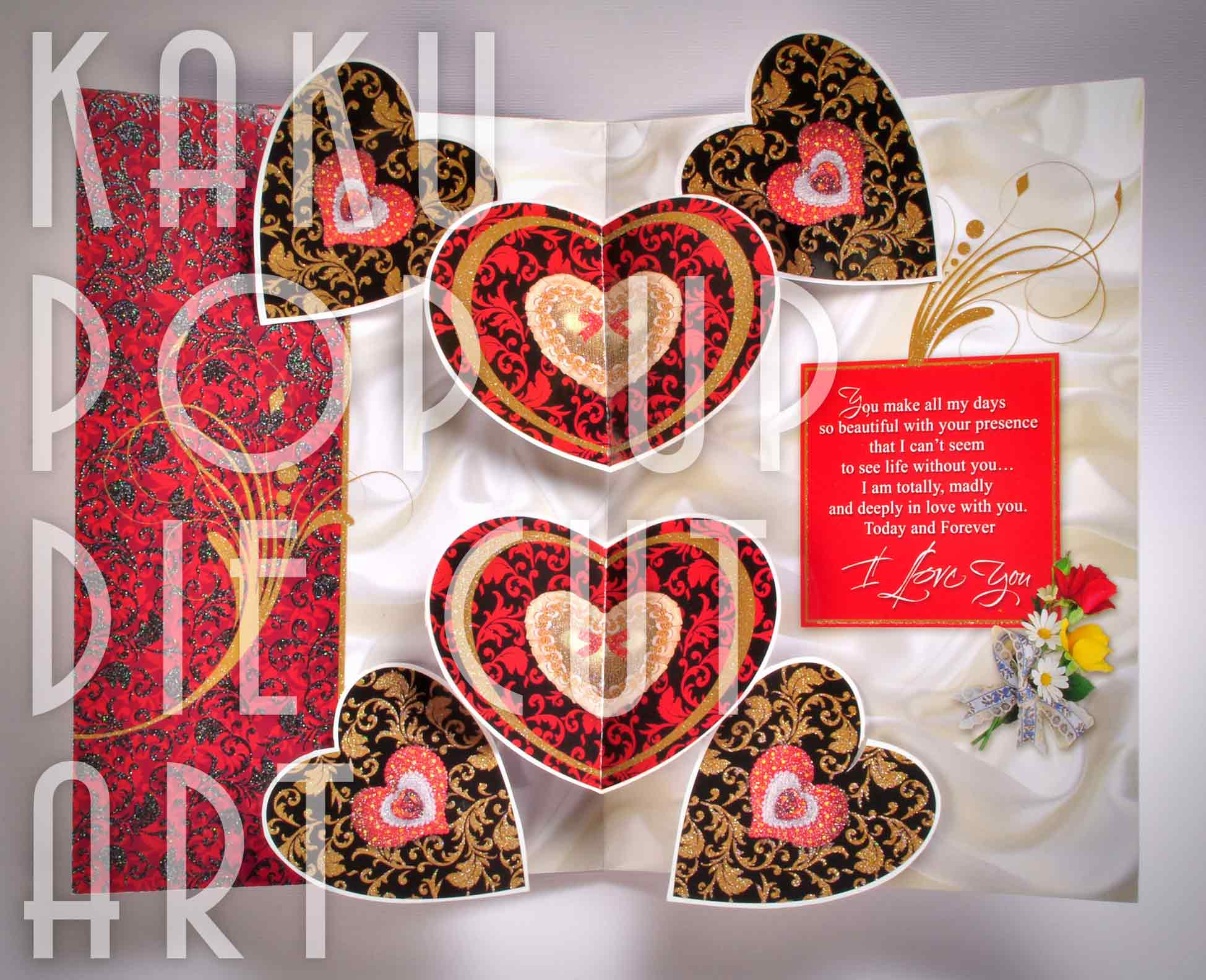 LOVE | HEARTS | VALENTINE DAY CARD | POP UP GREETING CARD