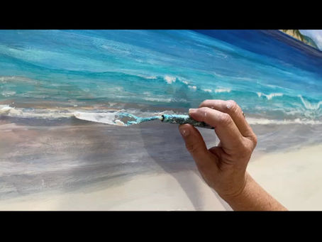 Adding some palette knife surf froth to this acrylic seascape! Fun!!
