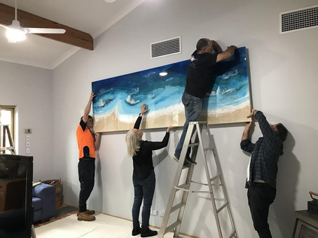 Hanging my largest ever painting!